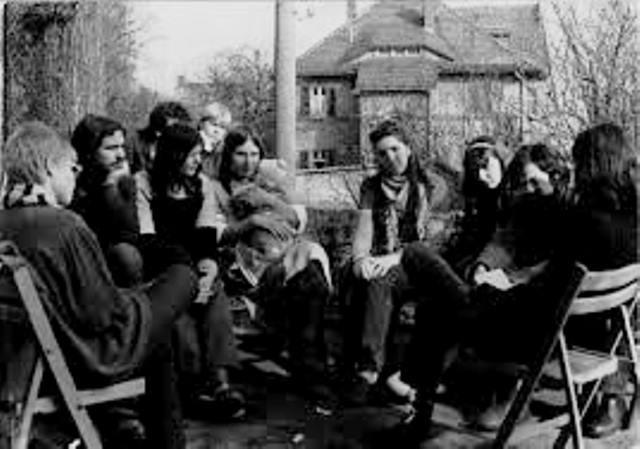 Medlemmer af den oppositionelle venstrefløjsgruppe  Wolfspelz i maj 1983 i byen Meissen