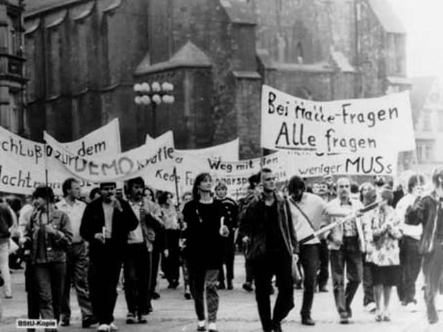 Oppositionsdemo de såkaldte Montagsdemo i byen Leipzig