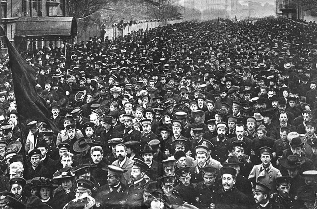 Arbejderdemonstration i Petrograd , oktober 1917