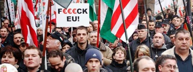 Det fascistiske parti 'Jobbik' på gaden i Ungarns hovedstad Budapest