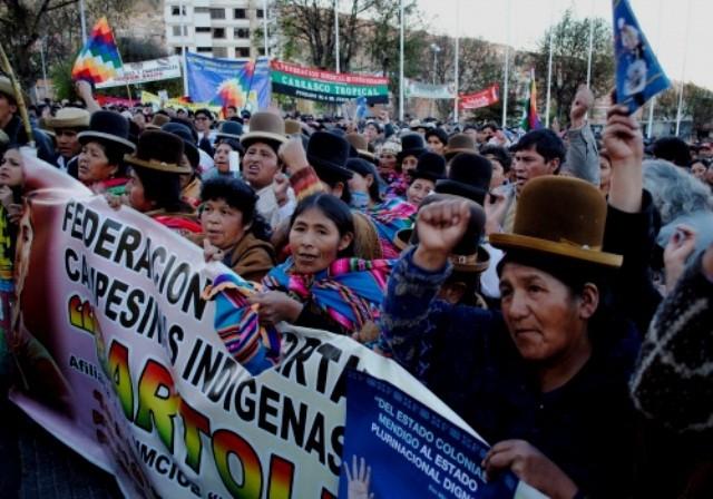 Landarbejdernes fagforening CSUTCB demonstrerer i La Paz, den 26 juni 2012