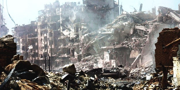 Den sønderbombede by Homs