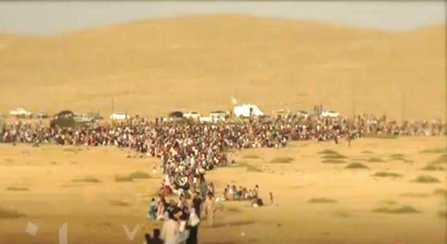 Folk flygter ud af Kobanê