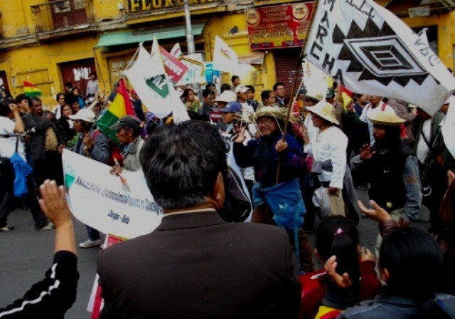 Indigen protestmarch i La Paz den 23. oktober 2011