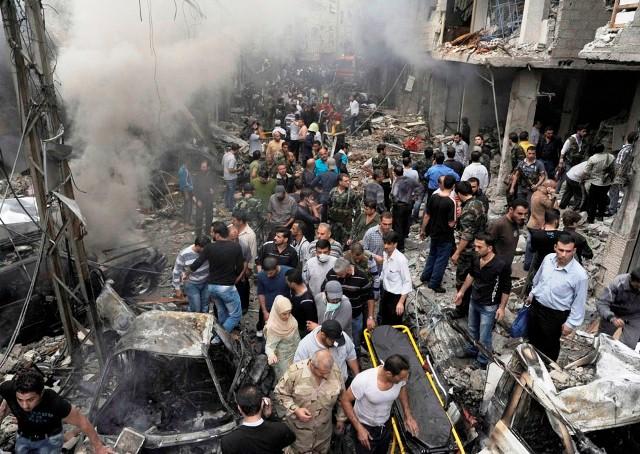 Damaskus'  vestlige forstad , d 5. November  2012. Assads militær bombaderede bydelen. 11 mennesker blev dræbt.
