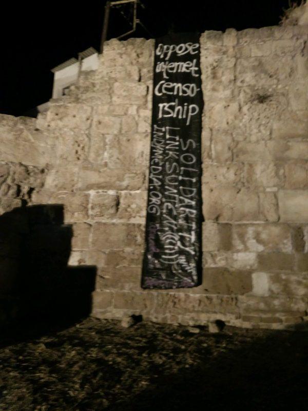 Solidaritetsparole med indymedia-linksunten i Chania, Grækenland