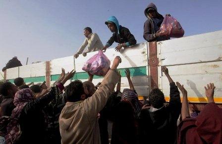 Fordeling af fødevarer i Tobruk