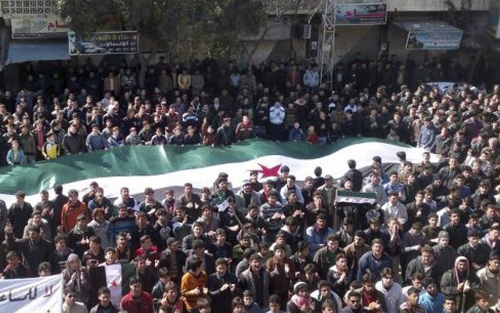 Anti Assad protest i byen Idlib, marts 2012 , organiseret af de lokale, basisdemokratiske  folkekomitéer i byen
