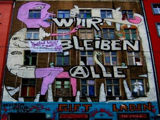 Protester mod gentrificeringen i Berlin