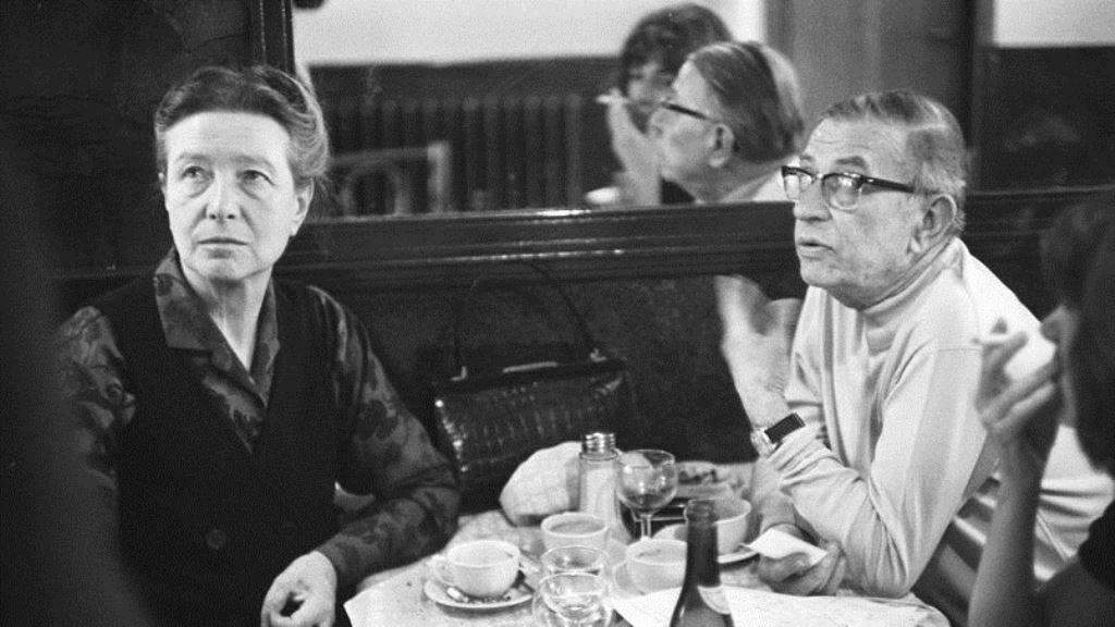 Simone de Beauvoir og Jean-Paul Sartre på deres yndlingscafé La Coupole i Paris