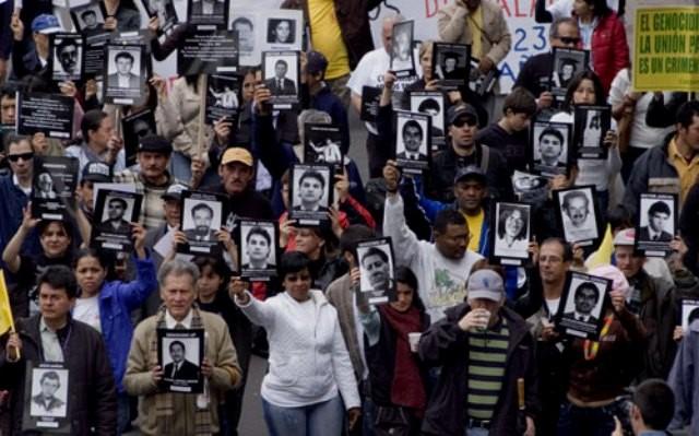 Mindedemo for de mange myrdede fagforeningsaktivister i Bogota