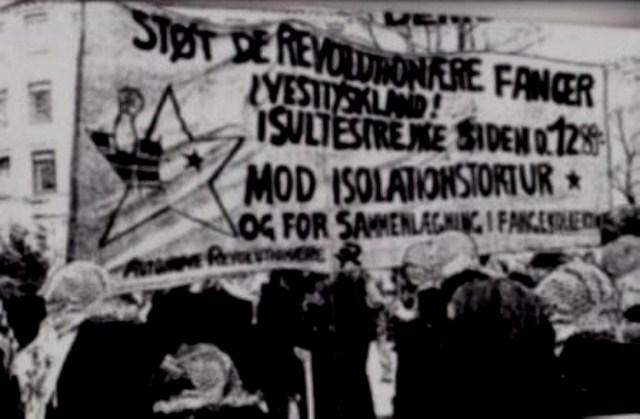 Autonome Revolutionære - blok i antirepressionsdemo i København, forår 1989