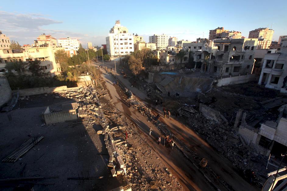 Ødelæggelser i Gaza by efter israelsk luftangreb d. 15. november 2012