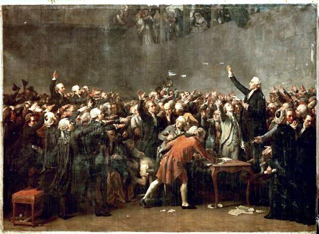 """""""Assemblée nationale constituante"""" i sportshallen """"Salle du Jeu de Paume"""" in Versailles"""