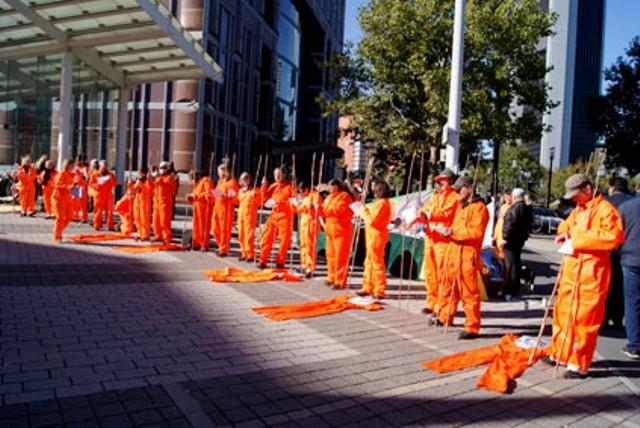 Free Mumia protest ved bogmessen i Frankfurt, Oktober 2011