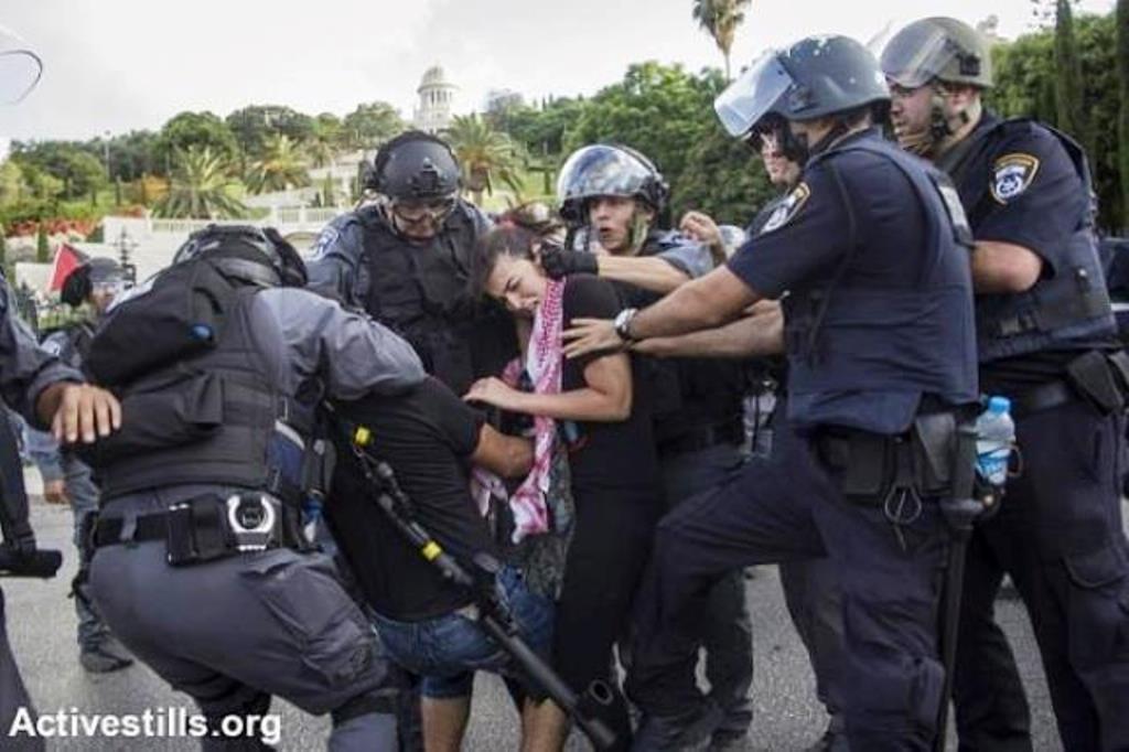 Politibrutalitet mod anti-krigsdemonstranter i Haifa, Israel