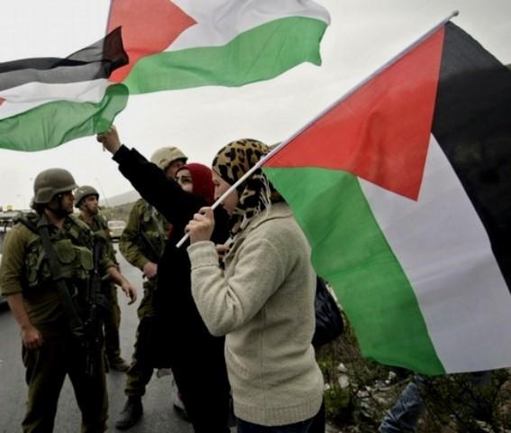 8.marts kvindedemo til Howara checkpoint ved byen Nablus på Vestbredden