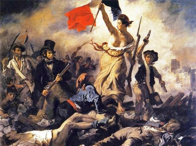 """""""Friheden leder Folket"""" maleri af Eugéne Delacroix (Borgernes opstand mod feudalregimet)"""