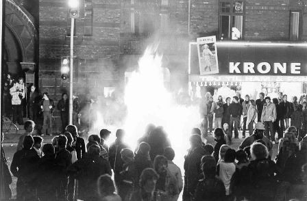 Bål og barrikader på Nørrebrogade