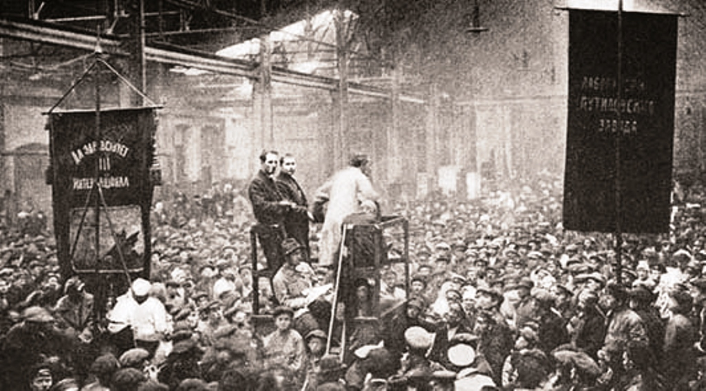 Strejkemøde i Petrograd (Skt.Petersborg) 1917