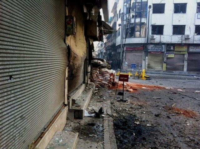 Krigszonen Baba Amr - kvarteret i Homs