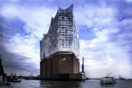 Elb-philharmonie i Hamburgs havneområdet (computergrafik)