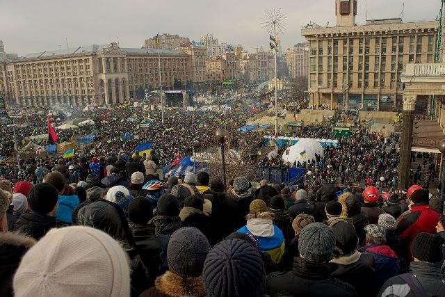 Maidan-pladsen efter præsident Viktor Janukovitj var blevet afsat, d. 26. februar 2014