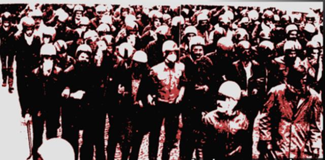 Medlemmer af Ligue Communiste angriber fascistorganisationen d'Ordre Nouveau's kongres i Paris i 1970´erne