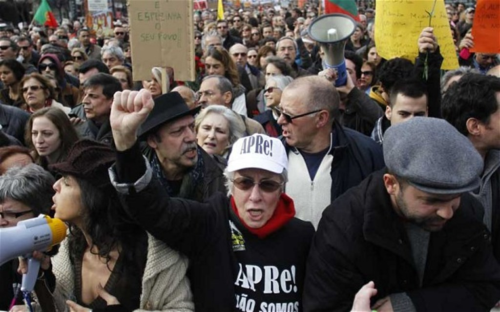 Pensionister demonstrerer mod regeringens sparpolitik, Lissabon 2017