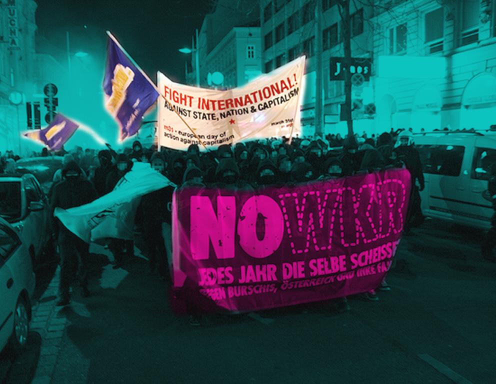 DEn autonome blok i demoen mod Akademikerball i Wien sidste år