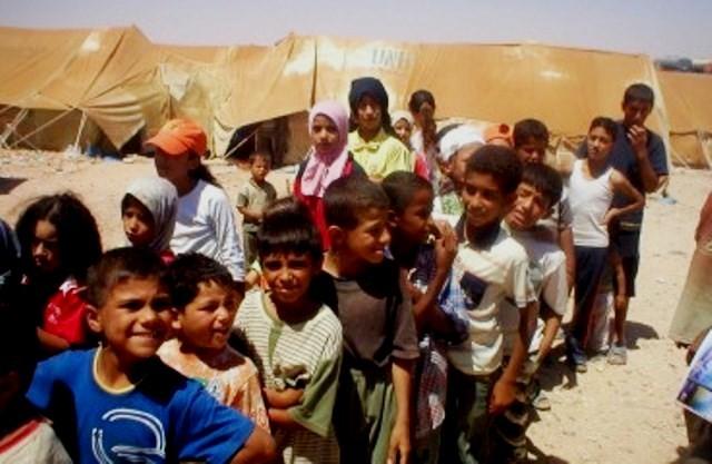 Palæstinensiske børn fra flygtningelejren Yarmouk i den sydlige del af Damaskus