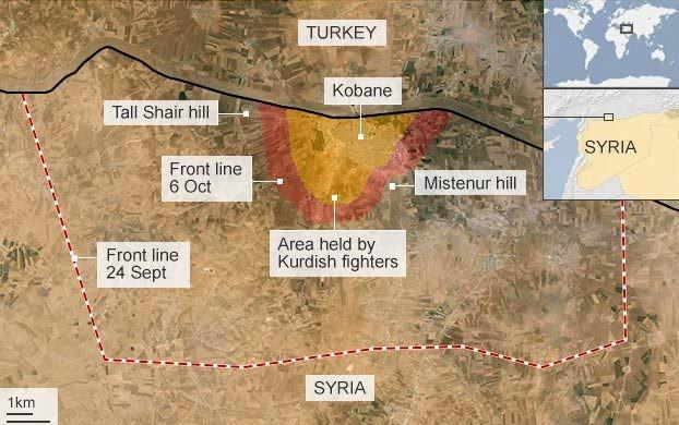 IS-Jihadist enheder har omringet den kurdiske enklave Kobani