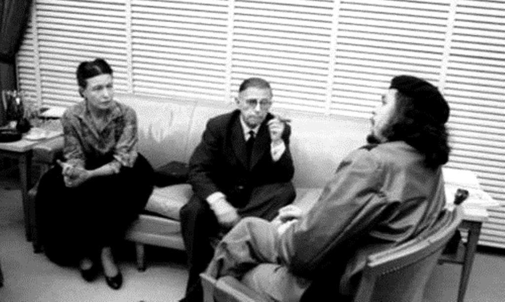 Simone de Beauvoir og Jean-Paul Sartre   på Cuba med Ernesto Che Guevara