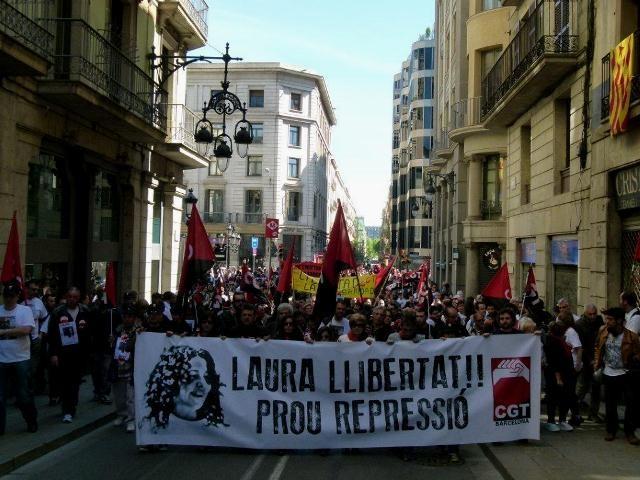 Solidaritetsdemo for CGTs fængslede organisationssekretær i Barcelona Laura Gómez