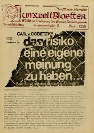 Et af de aviser, der blev fremstillet på Umweltbibliothek'ets trykkeri