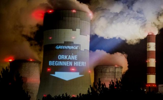 Greenpeace-protest i Polen imod kulkraftværket i Belchatow