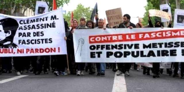 Venstreradikal antifascistisk mindedemo i Toulouse efter drabet på Clément Méric
