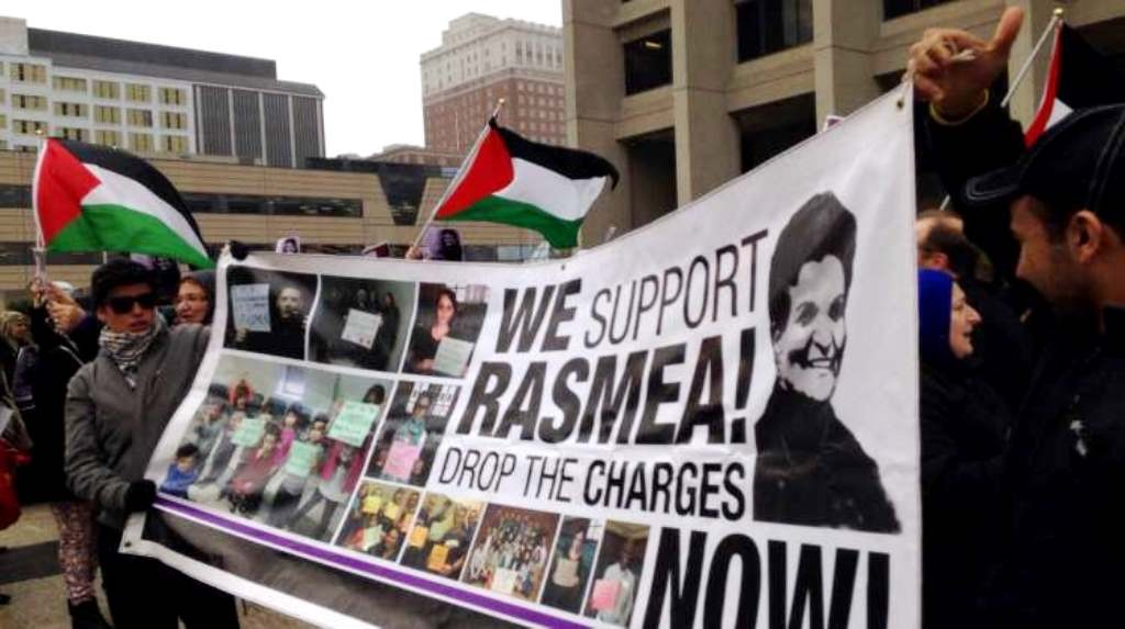 """Solidaritetsmanifestation i Chicago med kravet """"Drop anklagerne mod Rasmea Odeh!"""""""