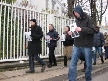 København,d. 11.12. 2009: Russisk antifa-protestmanifestation foran den russiske ambassade