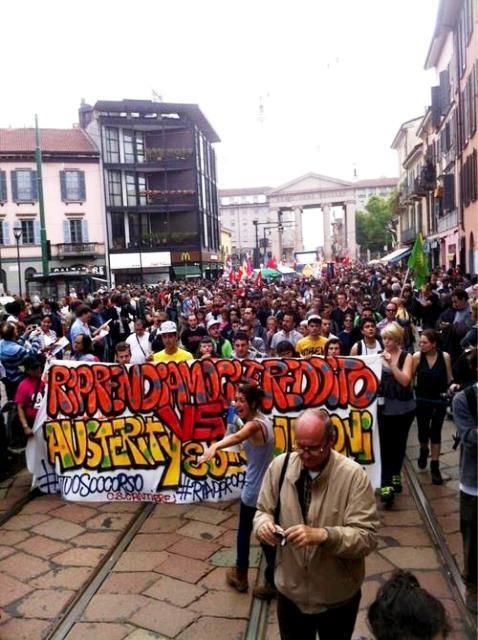 1. maj i Milano: Kampen mod nedskæringspolitiken og prekære forhold
