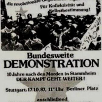 Stuttgart 1987:  Solidaritetsdemo med de revolutionære fanger med omkring 8.000 deltagere