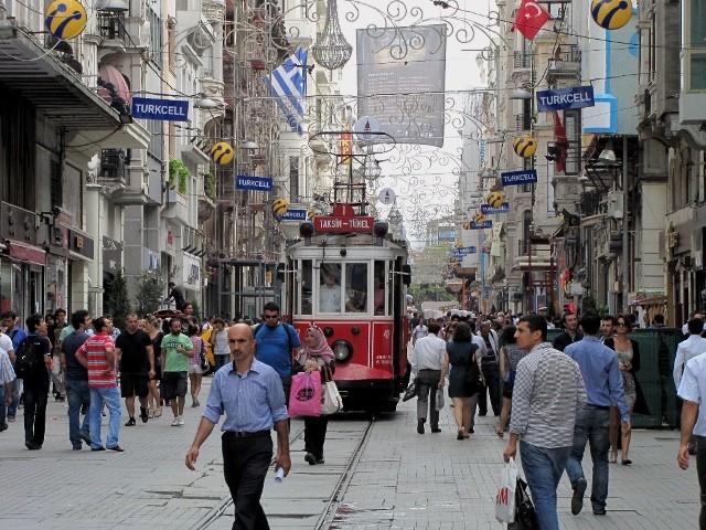 Istanbuls Istiklal boulevard i byens centrum