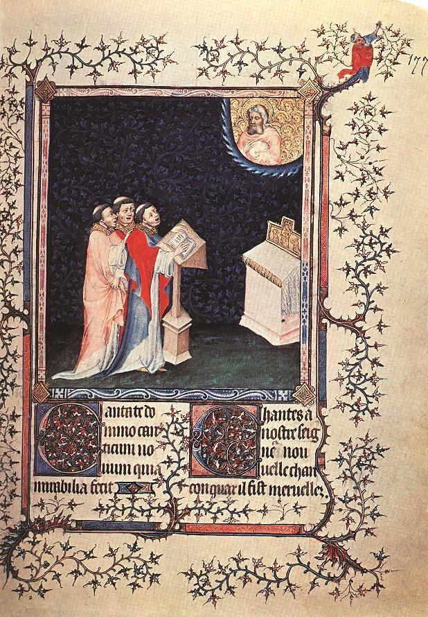 Cantate Domino canticum novum. Illustration zu Psalm 97,1 (98,1). Aus dem Psalter des Duc de Berry, vor 1402. Bibliothèque Nationale Paris