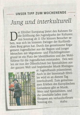 30. August 2018 Wiesbadener Kurier zum Jugendpark der Kulturen