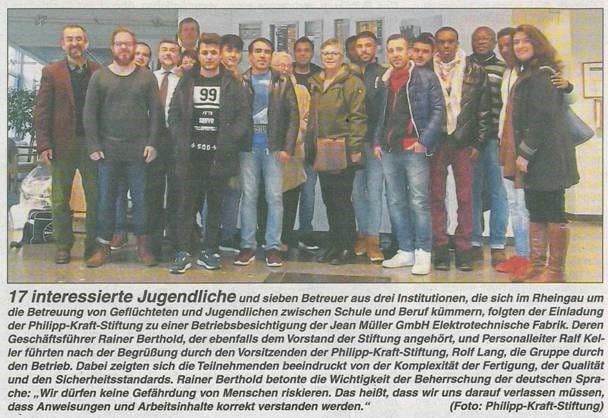 15.12.2016 Rheingau Echo Betriebsbesichtigung der Jean Müller GmbH in Eltville