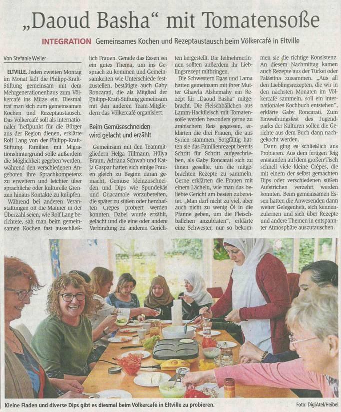 """10. April 2018  Wiesbadener Kurier zum Völkercafe   """"Rezeptaustausch"""""""