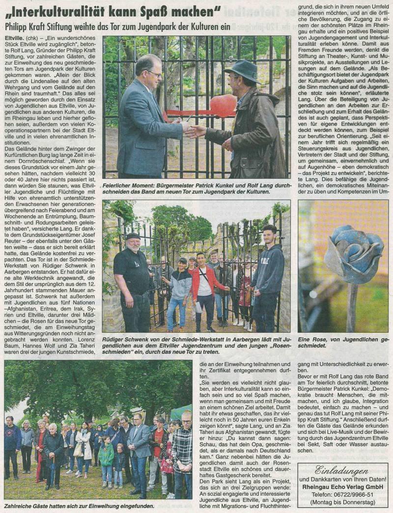 24. Mai 2018  Rheingau Echo zur Toreinweihung
