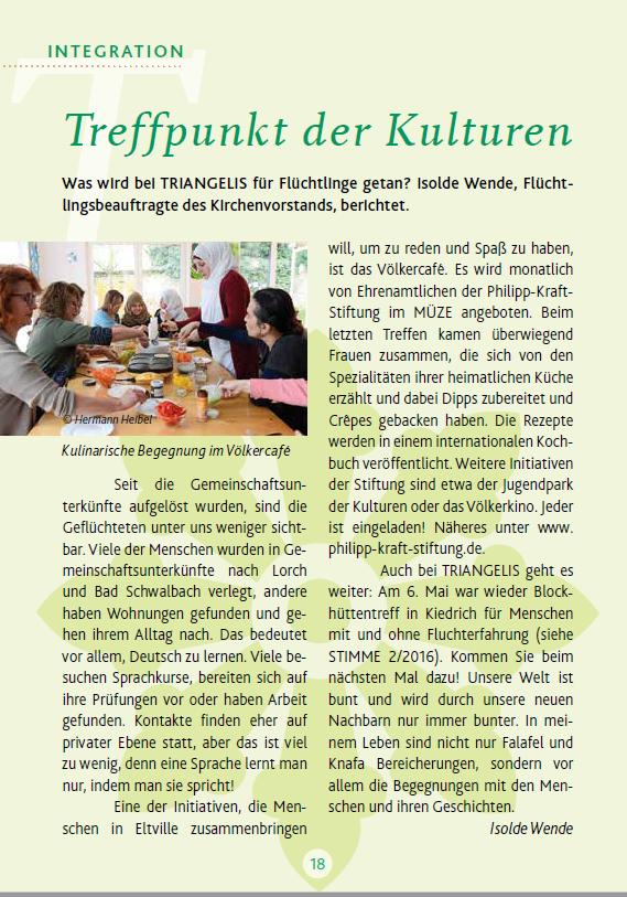"""18. Mai 2018 Triangelis  """"Die Stimme"""" zum Völkercafe  """"Rezeptaustausch"""""""