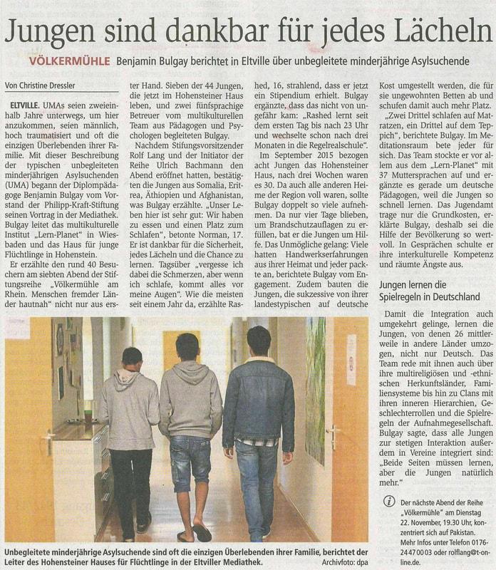 29.10.2016 Wiesbadener Kurier Völkermühle zum Thema unbegleitet Minderjährige Asylsuchen
