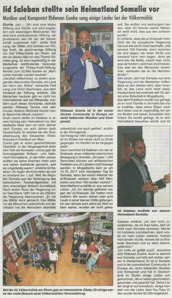 "25. Oktober 2018 Rheingau Echo zur Völkermühle  ""Somalia"""